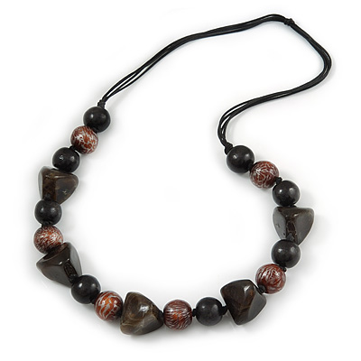 Statement Chunky Resin, Wood Bead with Cotton Cord Long Necklace (Brown/ Black) - 80cm Long - main view