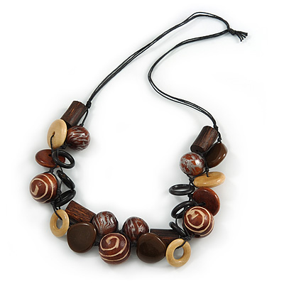 Chunky Wood, Ceramic Bead Cluster Black Cotton Cord Necklace (Brown/ Yellow) - 66cm L