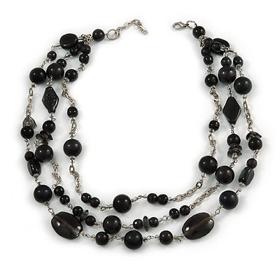 3 Strand Black Glass & Ceramic Bead Necklace In Silver Tone - 50cm L/ 3cm Ext - main view