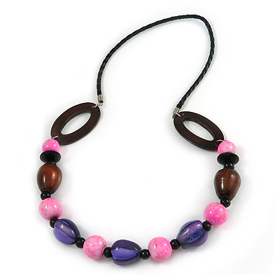 Brown/ Pink/ Purple Wood Bead Black Faux Leather Cord Necklace - 68cm L