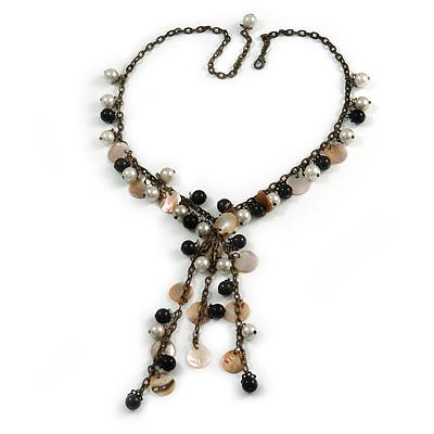 Vintage Inspired Black Ceramic Bead, White Faux Pearl, Sea Shell Bronze Tone Chain Tassel Necklace - 54cm L/ 8cm Ext/ 14cm Tassel - main view