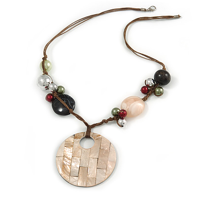 Large Mother of Pearl Penant with Brown Beaded Cords Necklace - 60cm L/ 7cm Pendant