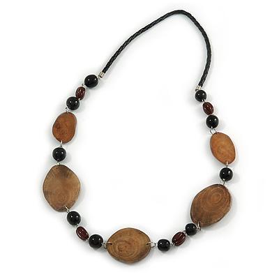 Brown/ Black Ceramic/ Wood Bead Black Faux Leather Cord Necklace - 78cm L