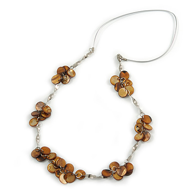 Brown Coin Shell Bead and Silver Tone Metal Bar Silver Rubber Cord Necklace - 88cm Long