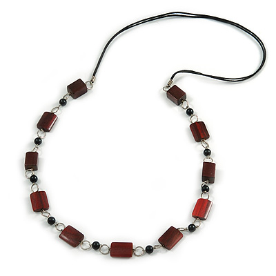 Mahogany Brown Wood and Black Ceramic Bead Cotton Cord Long Necklace - 94cm L
