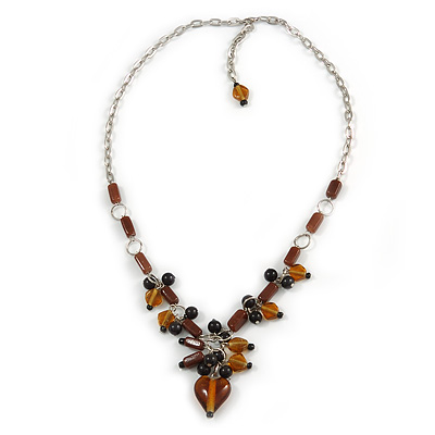 Romantic Glass and Ceramic Bead Heart Pendant Charm Necklace In Silver Tone (Amber Brown, Black) - 64cm L - main view