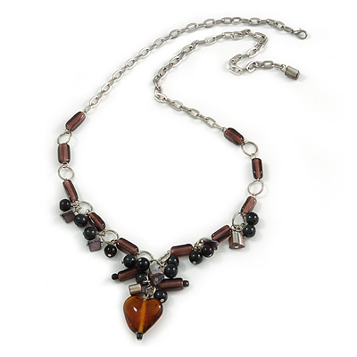 Romantic Glass and Ceramic Bead Heart Pendant Charm Necklace In Silver Tone (Plum, Black) - 64cm L