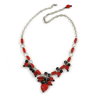 Romantic Glass and Ceramic Bead Heart Pendant Charm Necklace In Silver Tone (Carrot Red, Black) - 64cm L