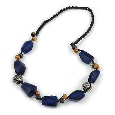 Statement Resin, Wood, Metal Bead Cotton Cord Necklace (Blue, Natural, Aged Silver) - 64cm L