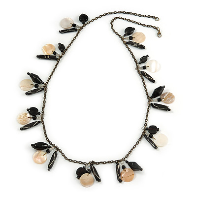 Boho Style Shell, Ceramic, Bone Charm with Bronze Tone Chain Necklace (Black/ Natural) - 76cm L - main view