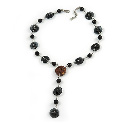 V Shape Glass and Ceramic Bead with Silver Tone Link Necklace - 44cm L/ 5cm Ext/ 12cm Front Drom