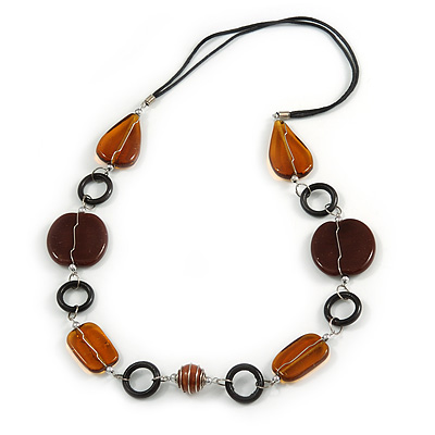 Brown/ Amber Ceramic Bead and Black Wood Ring Cotton Cord Necklace - 70cm L - main view