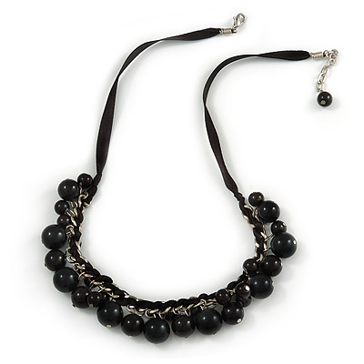 Black Ceramic Bead Charm with Silk Ribbon Necklace - 48cm L/ 4cm Ext