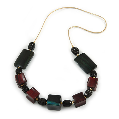 Geometric Wood and Oval Ceramic Bead Cord Necklace (Dark Green, Mahogany Brown, Black) - 72cm L