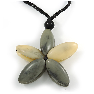 Oversized Grey/ Beige Resin Flower Pendant with Cotton Cord - 46cm L/ 10cm Flower - main view