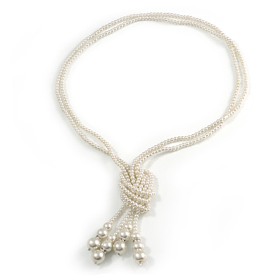 2 Strand Light Cream Faux Pearl Bead Long Lariat Necklace - 118cm L
