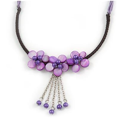 Purple Shell Flower Metal Wire with Black/ Purple Cotton Cord Necklace - 44cm L/ 5cm Ext