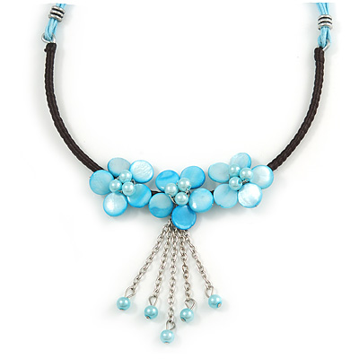 Light Blue Shell Flower Metal Wire with Black/ Light Blue Cotton Cord Necklace - 44cm L/ 5cm Ext