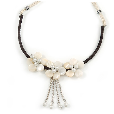 White Shell Flower Metal Wire with Black/ Off White Cotton Cord Necklace - 44cm L/ 5cm Ext