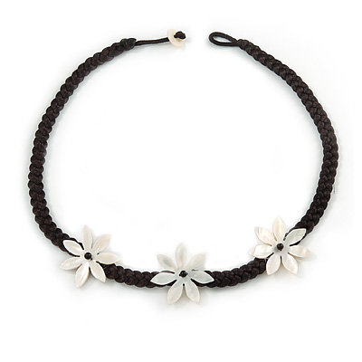 Mother Of Pearl Floral Black Silk Cord Necklace - 48cm L