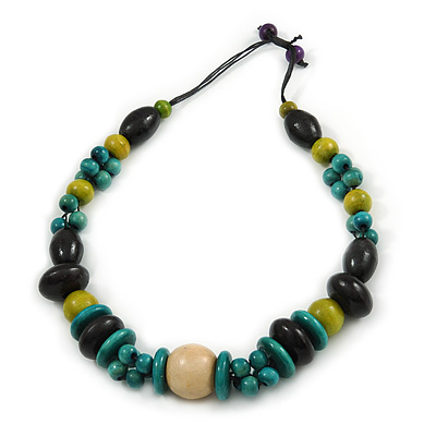Black/ Green/ Olive Wood Bead Chunky Cord Necklace - 62cm Long
