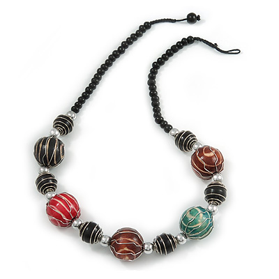 Multicoloured Wood Bead with Wire Detailing Necklace - 56cm L