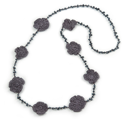 Long Grey Floral Crochet, Glass Bead Necklace - 104cm Length