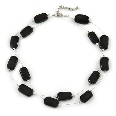Two Strand Square Black Glass Bead Silver Tone Wire Necklace - 48cm L/ 5cm Ext