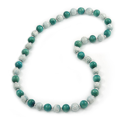 Chunky Wood Bead Necklace (Teal Green/ Withe) - 80cm Long