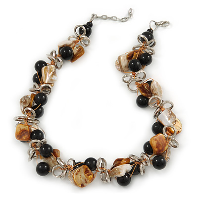 Exquisite Black Ceramic Bead & Brown/ Natural Shell Composite Silver Tone Link Necklace - 41cm L/ 4cm Ext