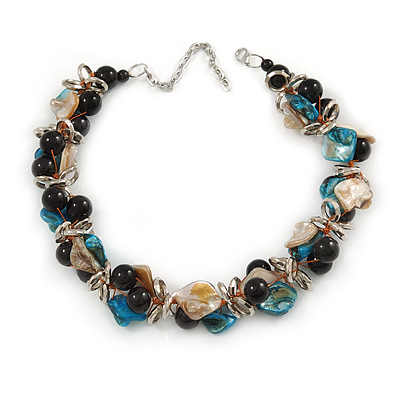 Exquisite Black Ceramic Bead & Teal/ Natural Shell Composite Silver Tone Link Necklace - 36cm L/ 7cm Ext - main view
