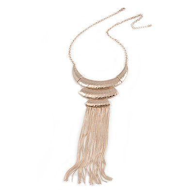 Statement Hammered Bib with Long Fringe Necklace In Rose Gold Metal - 46cm L/ 8cm Ext