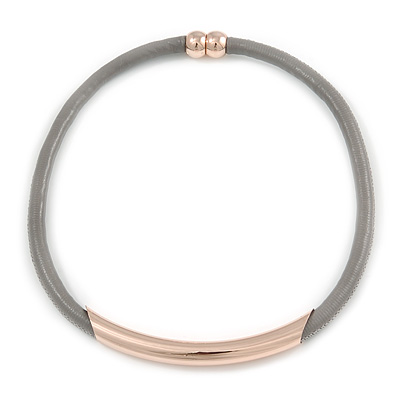 Stylish Light Grey Leather Cord Necklace with Gold Tone Sliding Tunnel Detailing - 44cm L
