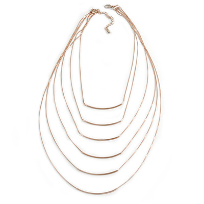 Trendy Muntitrand Layered Chain Bar Necklace In Rose Gold Tone - 90cm Long
