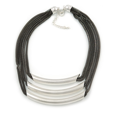 Statement 3 Strand Layered Dark Grey Mesh Necklace with Tunnel Detailing - 48cm L/ 6cm Ext