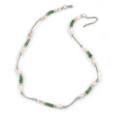 Delicate Glass Beads and Sea Shell, Metal Bar Necklace In Silver Tone (Green/ White) - 50cm L/ 6cm Ext