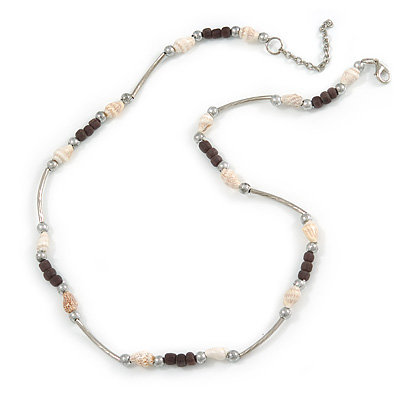 Delicate Glass Beads and Sea Shell, Metal Bar Necklace In Silver Tone (Dark Grey/ White) - 50cm L/ 6cm Ext