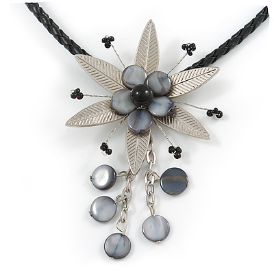 Romantic Beaded Flower Pendant with Black Faux Leather Cord In Silver Tone (Black, Grey) - 44cm L