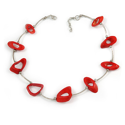 Stylish Red Bone Bead and Textured Metal Bar Necklace In Silver Tone - 45cm L/ 5cm Ext