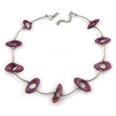 Stylish Purple Bone Bead and Textured Metal Bar Necklace In Silver Tone - 44cm L/ 5cm Ext