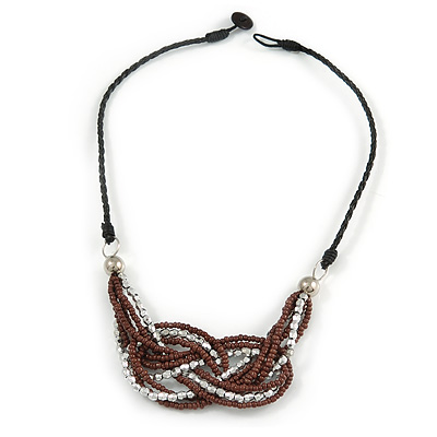 Stylish Brown Glass, Silver Acrylic Bead Black Faux Leather Cord Bib Style Necklace - 42cm L