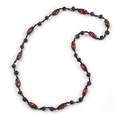 Purple/ Red/ Yellow Wood Bead Black Cotton Cord Necklace - 80cm L