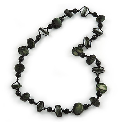 Dark Green Bone and Black Wood Bead with Cotton Cord Necklace - 62cm L