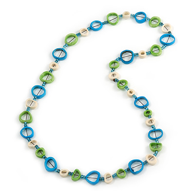 Blue/ Green/ White Bone Rings, Blue Glass Beads Necklace - 76cm L