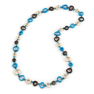 Blue/ Brown/ White Bone Rings, Blue Glass Beads Necklace - 74cm L