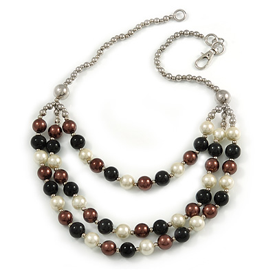 Layered Glass Bead Statement Necklace (Brown/ Black/ White/ Silver) - 62cm L - main view