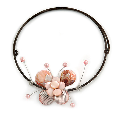 Pastel Pink Sea Shell Butterfly Pendant with Flex Wire Choker Necklace - Adjustable