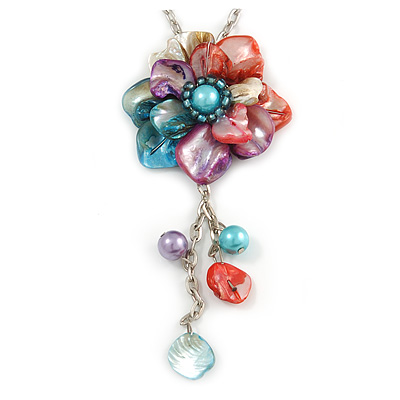 Romantic Multicoloured Shell and Faux Pearl Bead Flower Pendant with Silver Tone Chain - 78cm L - main view
