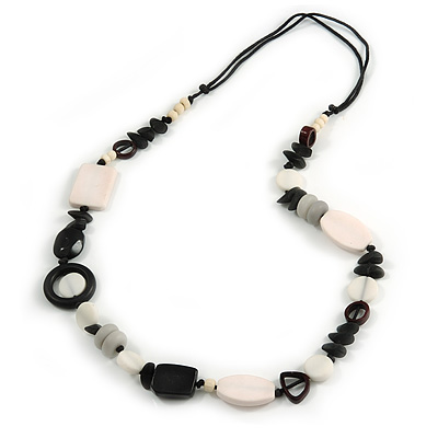 White/ Black/ Grey Resin/ Bone Geometric Bead with Black Cotton Cord Necklace - 72cm L (Adjustable)