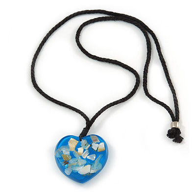 Blue Resin Heart Pendant With Black Cotton Cord - 64cm Long